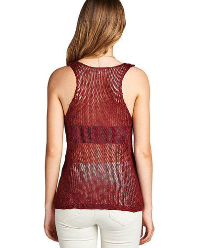 V-neckline fashion mesh top
