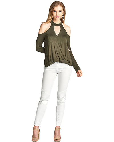 Plunging V-cutout long sleeves top