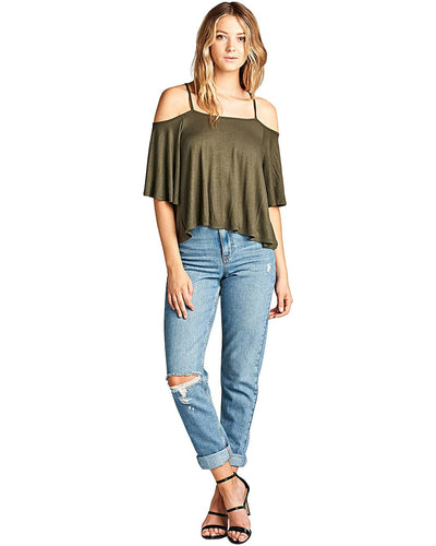 Flowy silhouette open shoulders top