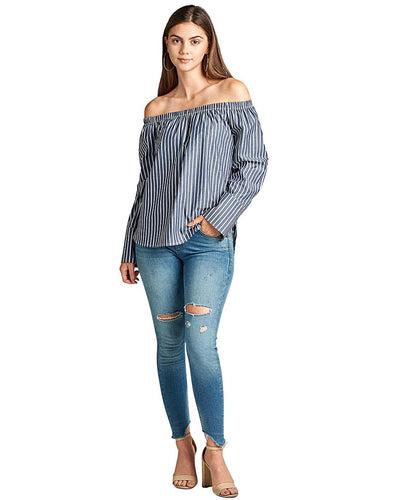 Allover pinstripe pattern top