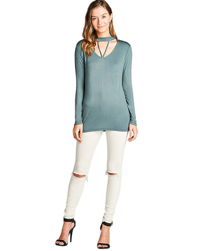 V-cutout design long sleeves top