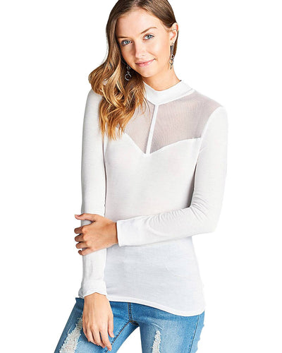 Sheer mesh knit crew neckline w/sweetheart shape top