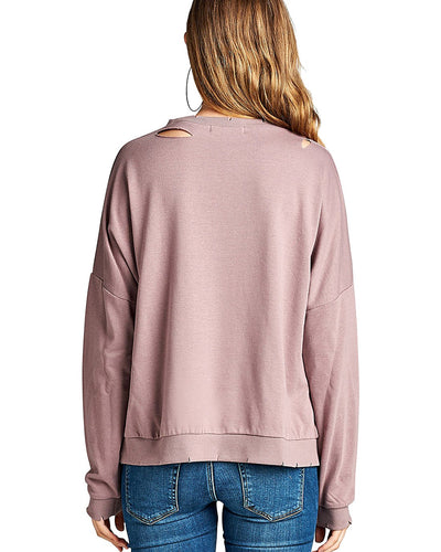 Dropped shoulders distressed cutout design sweatshirt