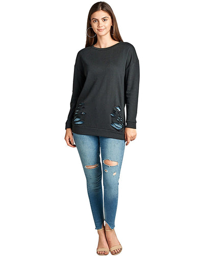 Dropped shoulders slash distressing terry knit tee