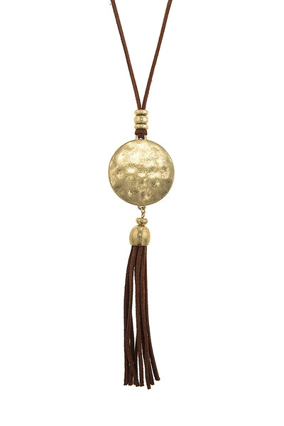 Faux suede tassel necklace set