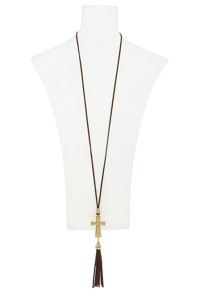 Faux suede tassel cross necklace set