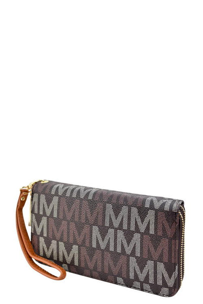 Designer monogram double zip around wallet