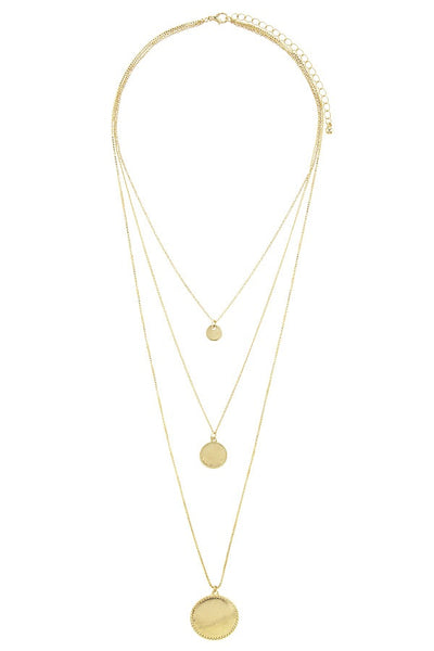 Circle disk three layer choker necklace