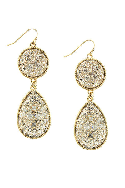 Layered druzy teardrop earrings