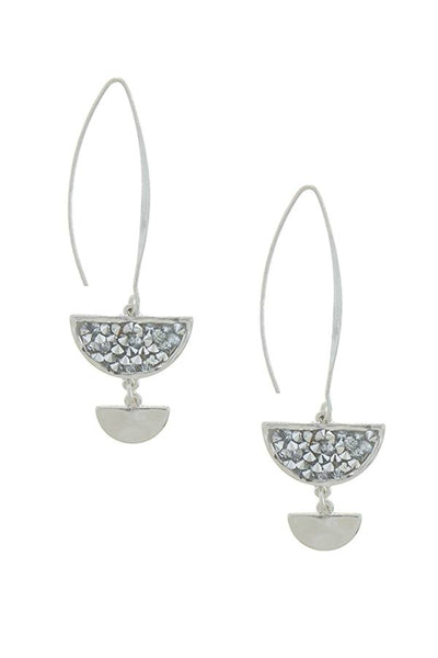 Modernist druzy half moon drop earrings