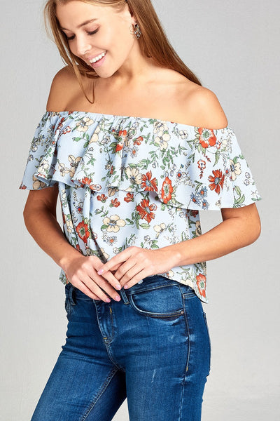 Ladies fashion off the shoulder ruffle floral print crepe woven top