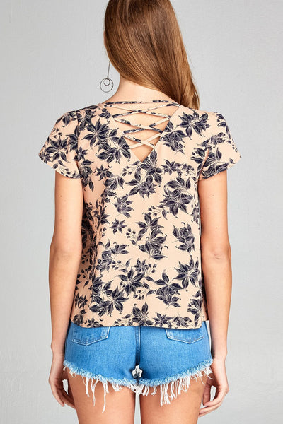 Ladies fashion short tulip sleeve round neck w/strappy back detail floral print woven top