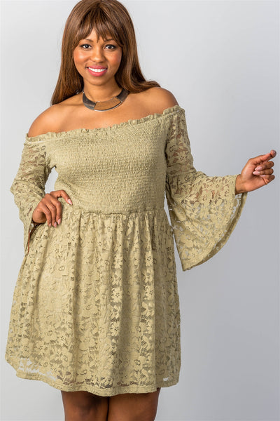 Ladies fashion plus size floral lace off-the-shoulder dress