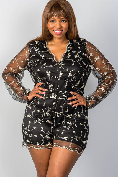Ladies fashion plus size sheer mesh floral embroidered romper