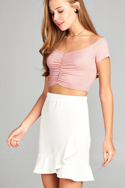 Ladies fashion short sleeve off the shoulder front shirring detail rayon spandex rib crop top
