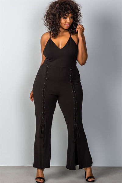 Ladies fashion plus size lace up split leg plus size jumpsuit