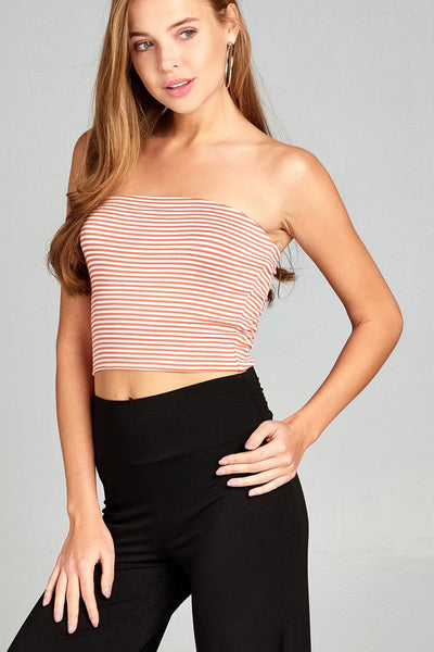 Ladies fashion 2 ply stripe rayon spandex tube top