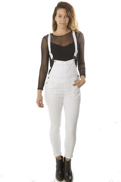 Ladies fashion overall fitted twill, light stretch, adjustable strap & pockets