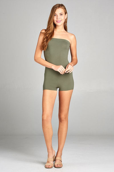 Ladies fashion strapless bodycon tube cotton spandex romper