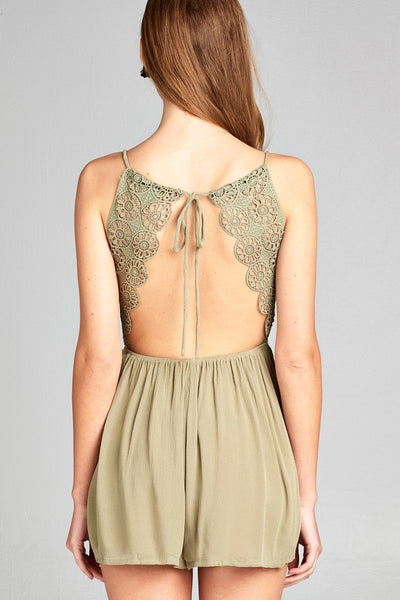Ladies fashion v-neck wrap halter neck and open back crochet lace detail romper
