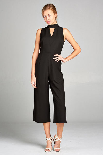 Ladies fashion sleeveless v-neck w/choker long leg woven jumpsuit