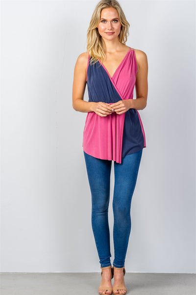 Ladies fashion raspberry & navy pink color-block v-neck crossover top