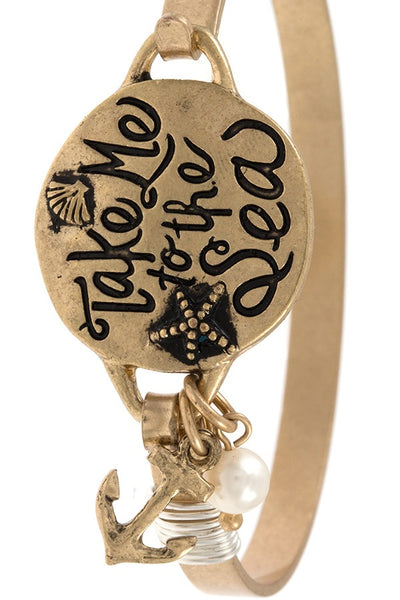 Take me to the sea etched bangle bracelet