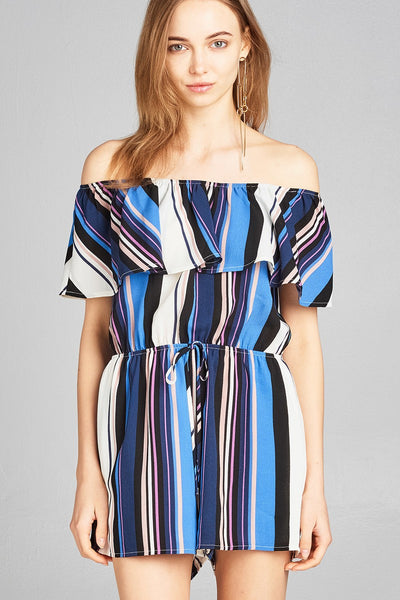 Ladies fashion off the shoulder flounce multi stripe woven romper