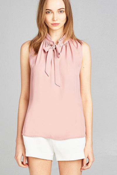 Ladies fashion sleeveless ruffle neck w/self-tie wool dobby woven top