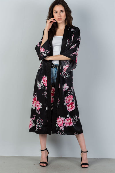 Ladies fashion black & pink floral print kimono-robe