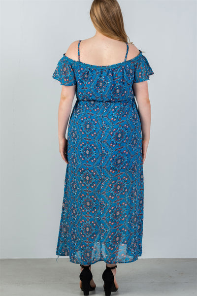 Ladies fashion plus size blue & floral print cold shoulder maxi dress