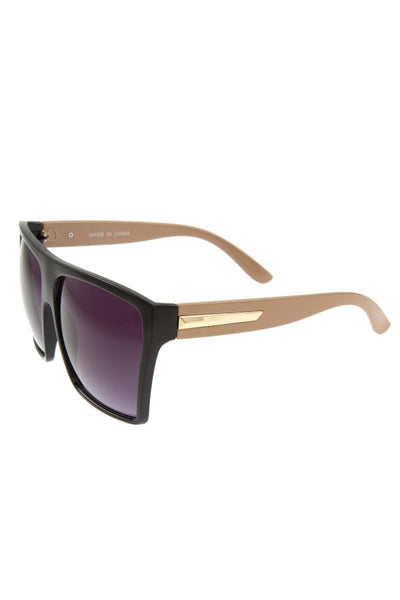 Oversize metal acent temple sunglasses