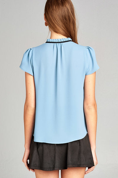 Ladies fashion short tulip sleeve contrast self-tie crepe woven top