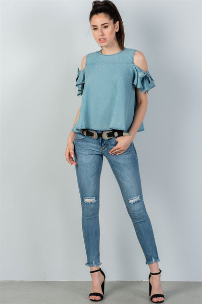 Ladies fashion denim bow tie sleeve cold shoulder top