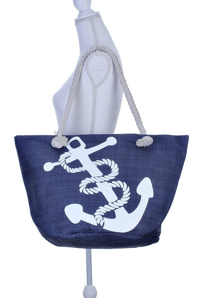 Anchor print beach tote bag