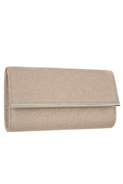 Glittered detailed metal accent evening bag