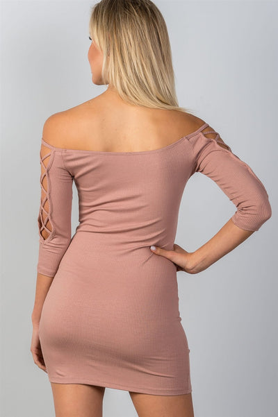Ladies fashion off the shoulder criss-cross sleeves bodycon mini dress