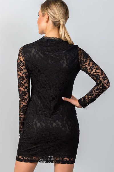 Ladies fashion  long sleeve  floral lace mock neck bodycon mini dress