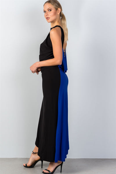 Ladies fashion draped back with necklace detail open back contrast color draped back maxi party dress