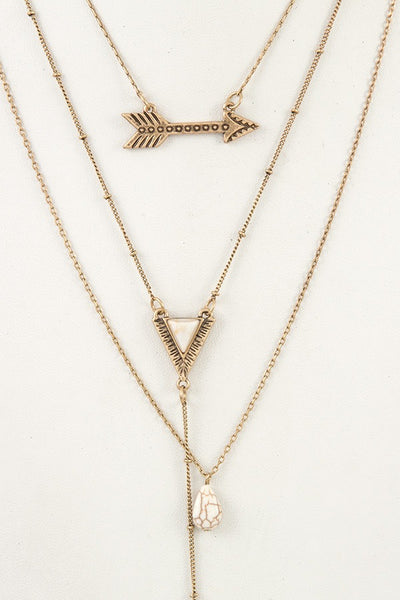 Multi layered tribal pendant necklace