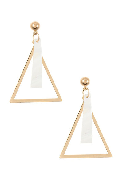 Triangle flar bar link dangle earring