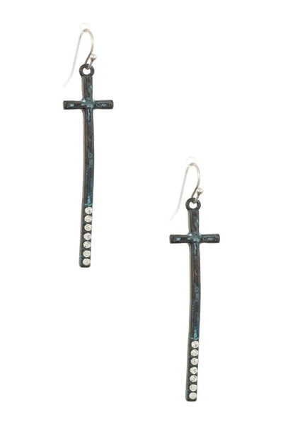 Gem pave oblong cross dangle earring