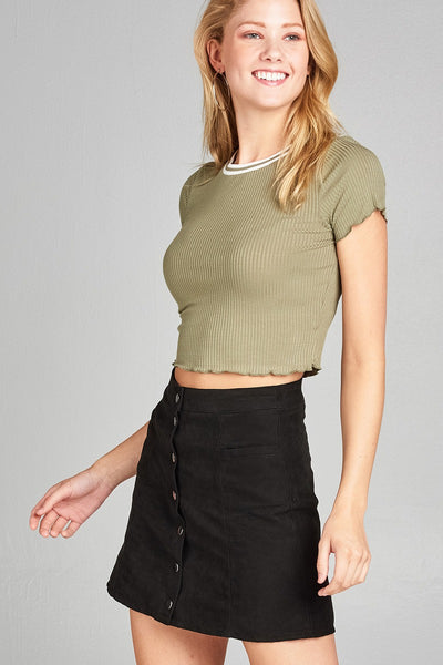 Ladies fashion short sleeve round neck w/rib band lettuce hem rayon spandex rib crop top