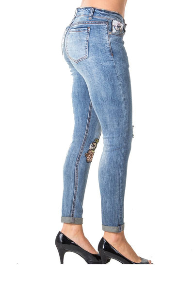 Ladies fashion denim distress embroidered capri pants with pockets