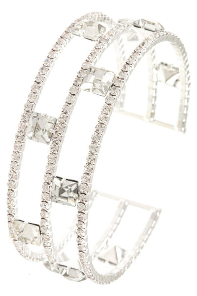 Ladies multi row rhinestone pave gem station flex bracelet