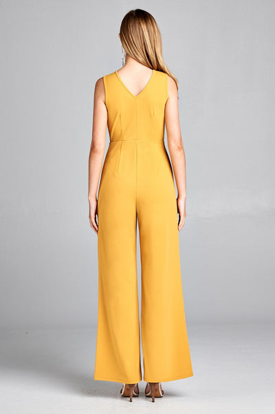 Ladies fashion double v-neck long wide jumpsuit