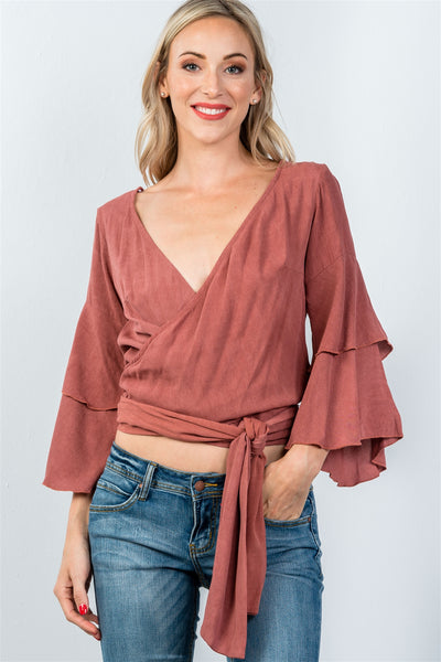 Ladies fashion rust  v neckline wrap tie tiered bell sleeves blouse