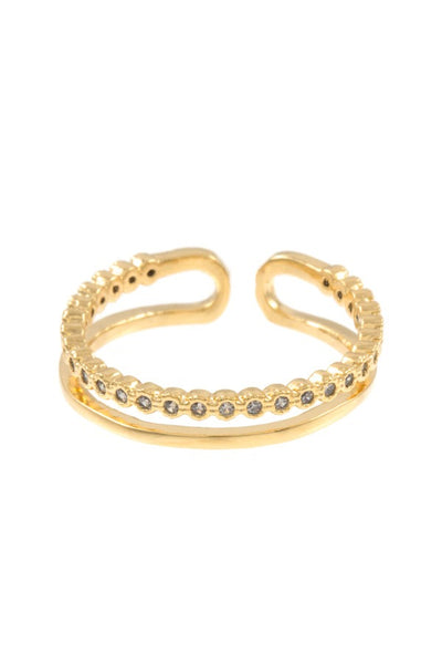 Ladies aligned cz stone pave cuff ring