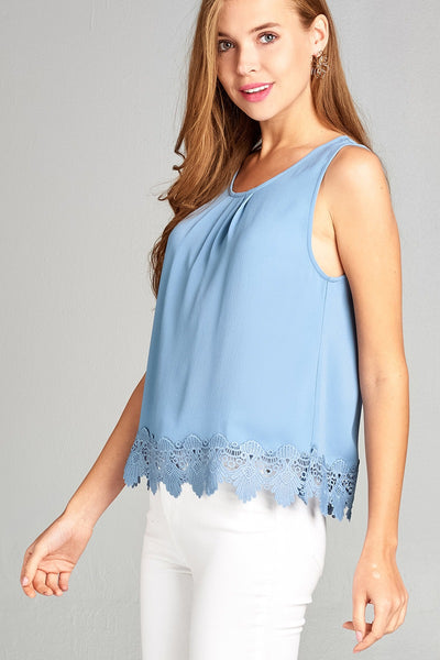 Ladies fashion plus size sleeveless w/crochet lace hem crepe woven top