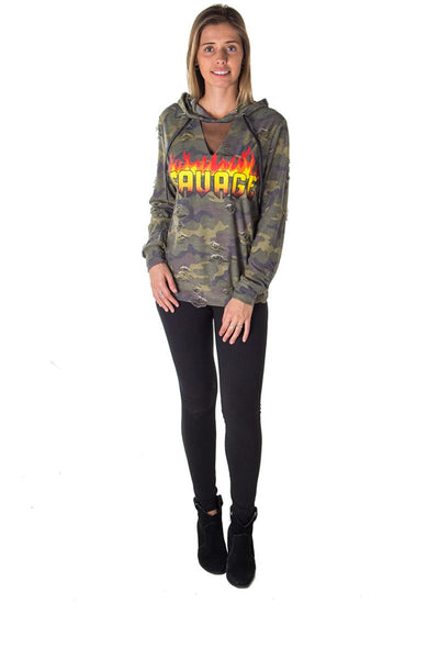 Ladies fashion mesh hoody sweatshirt distress tops with applique
